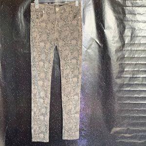 Angl-Light Brown Skinny Pants with Snake Print Med
